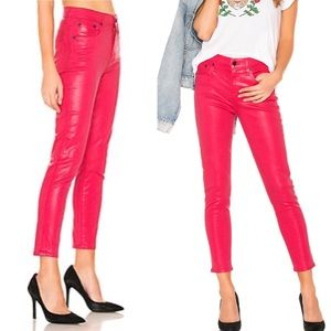 AGOLDE High Rise Skinny Leatherette Jean Pink 27